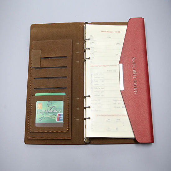 Leather Cover Notebook Printing with Pocket Inside The Cover