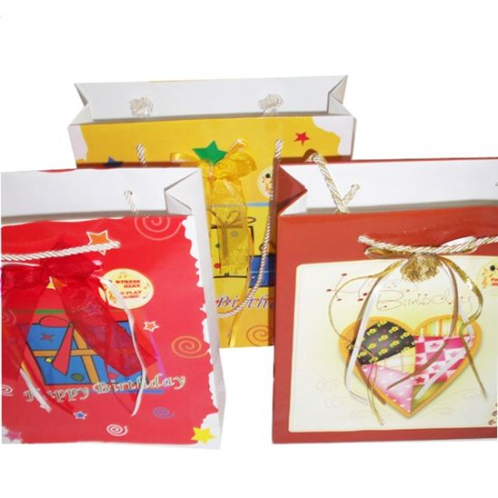 Cusom Happy Birthday Handmade Paper Bag Designs (OEM-Pb023)